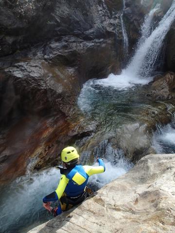 1er toboggan dans le canyoning de Gedre